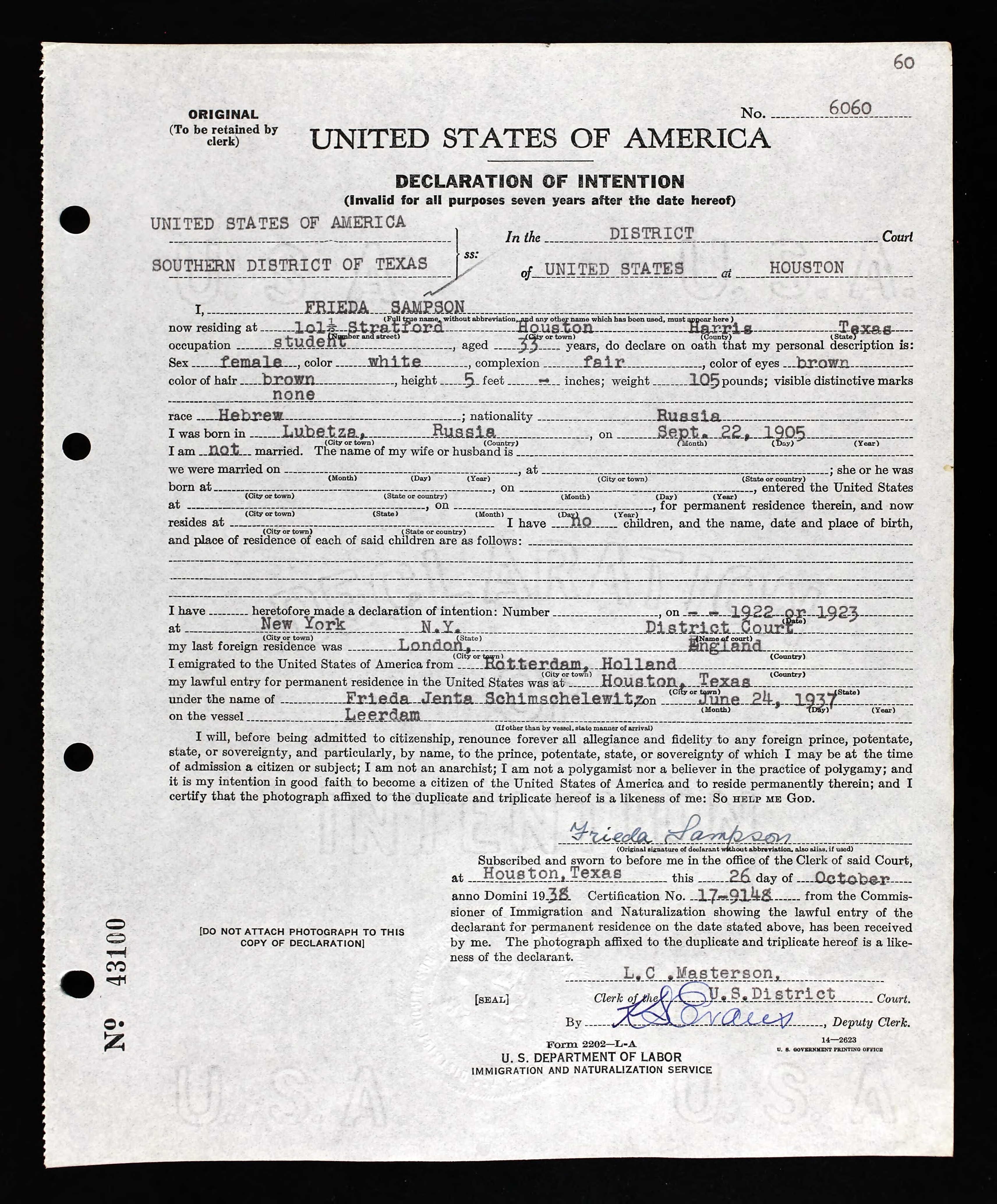 ... 33 Birth Date: 22 Sep 1905 Birth Place: Lubetza, Russia Record Date: 26  Oct 1938 Court District: Southern District of Texas Court Place: Houston,  Texas, ...