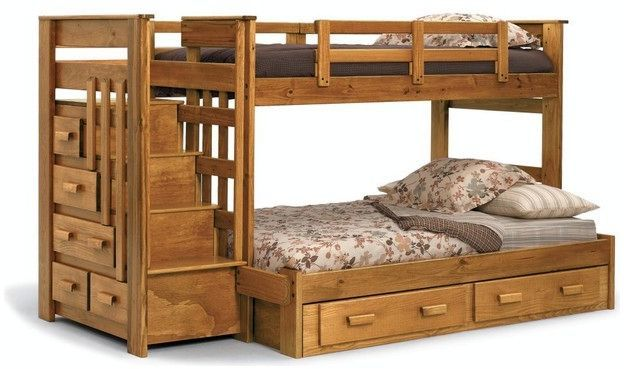 Rustic Pine Twin Over Full Stairway Bunk Bed With Storage Trundle Options