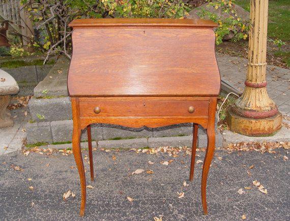 Early 20th Century Oak Slant Top Ladies Writing Desk Period Slant Front Oak Desk C 1900 Measures 29 5 Inches Wide By 41 75 I Ladies Writing Desk Oak Desk Oak