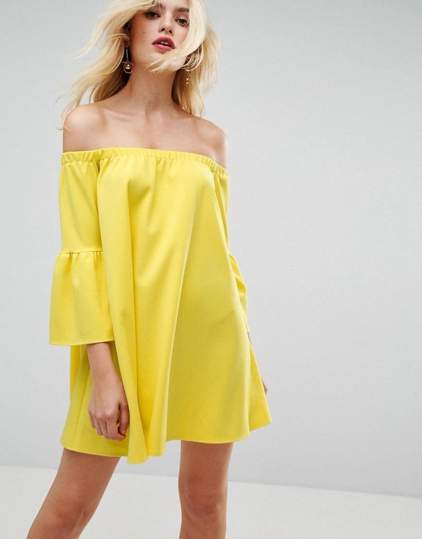 61e54877054 ASOS Off Shoulder Dress with Bell Sleeve - Yellow