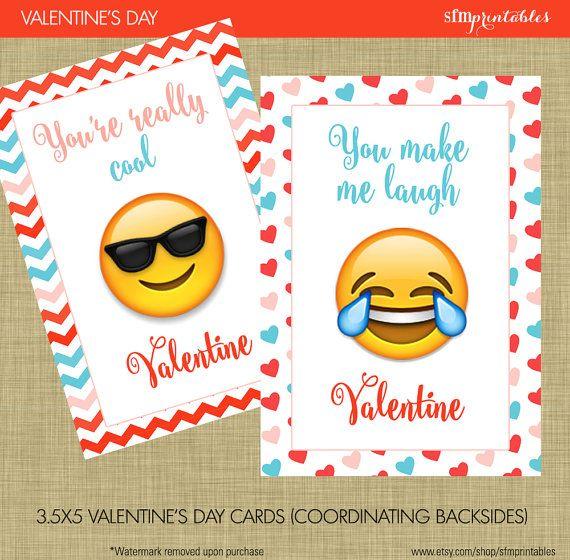 Emoji Valentine S Day Cards Instant Download Kids School