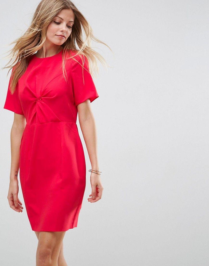 Asos twist front mini pencil dress red products pinterest
