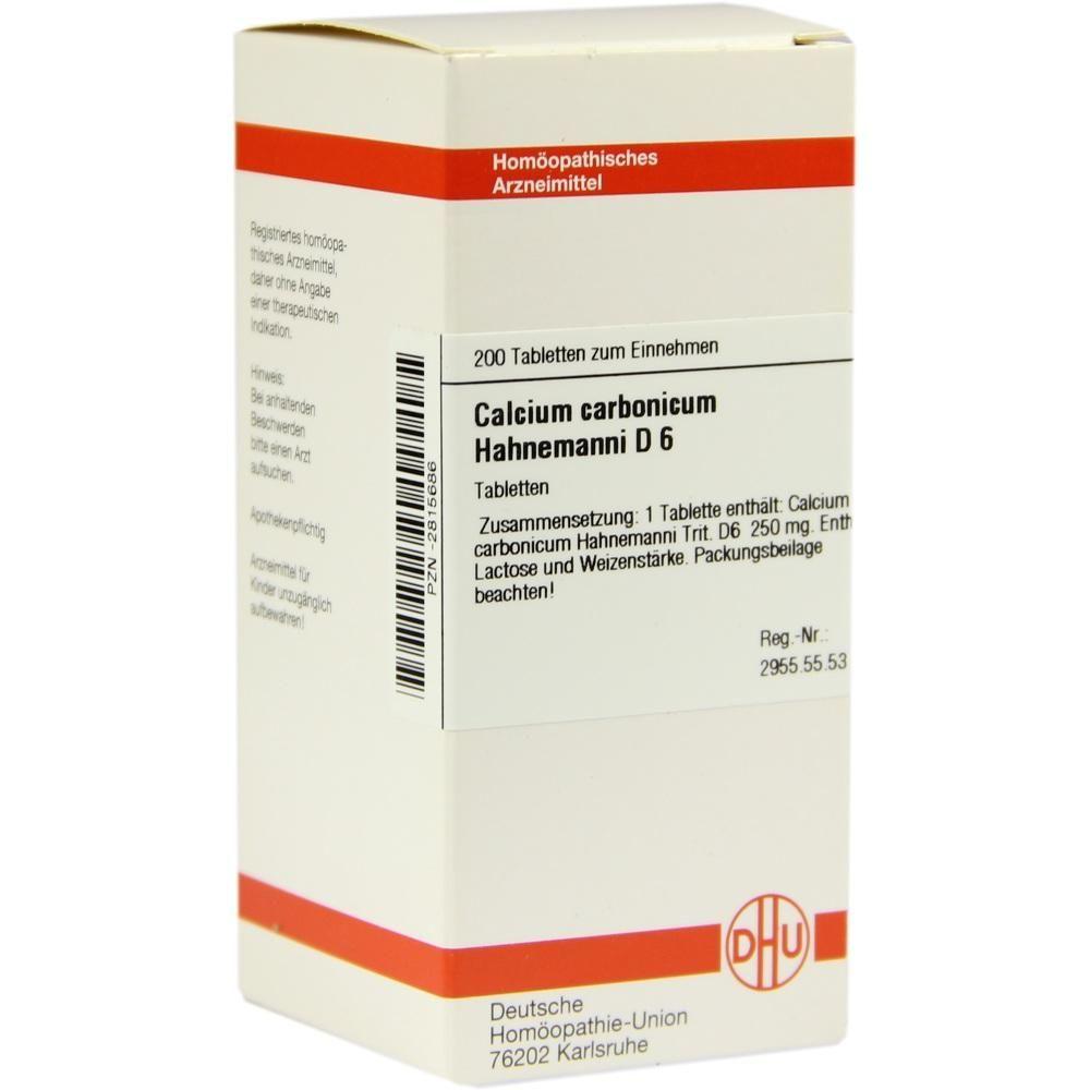CALCIUM CARBONICUM D 6 Tabletten Hahnemanni:   Packungsinhalt: 200 St Tabletten PZN: 02815686 Hersteller: DHU-Arzneimittel GmbH & Co. KG…