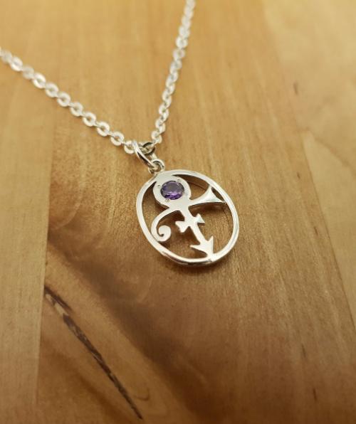 Pendant Enclosed Love Remembrance Symbol With Purple Stone