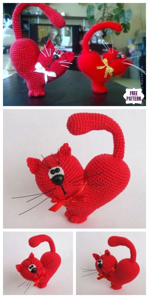 Crochet Valentine Cat Amigurumi Free Patterns #crochetamigurumifreepatterns