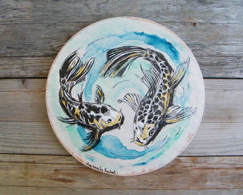 Round wood sign koi fish print on wood fish wall sign pisces
