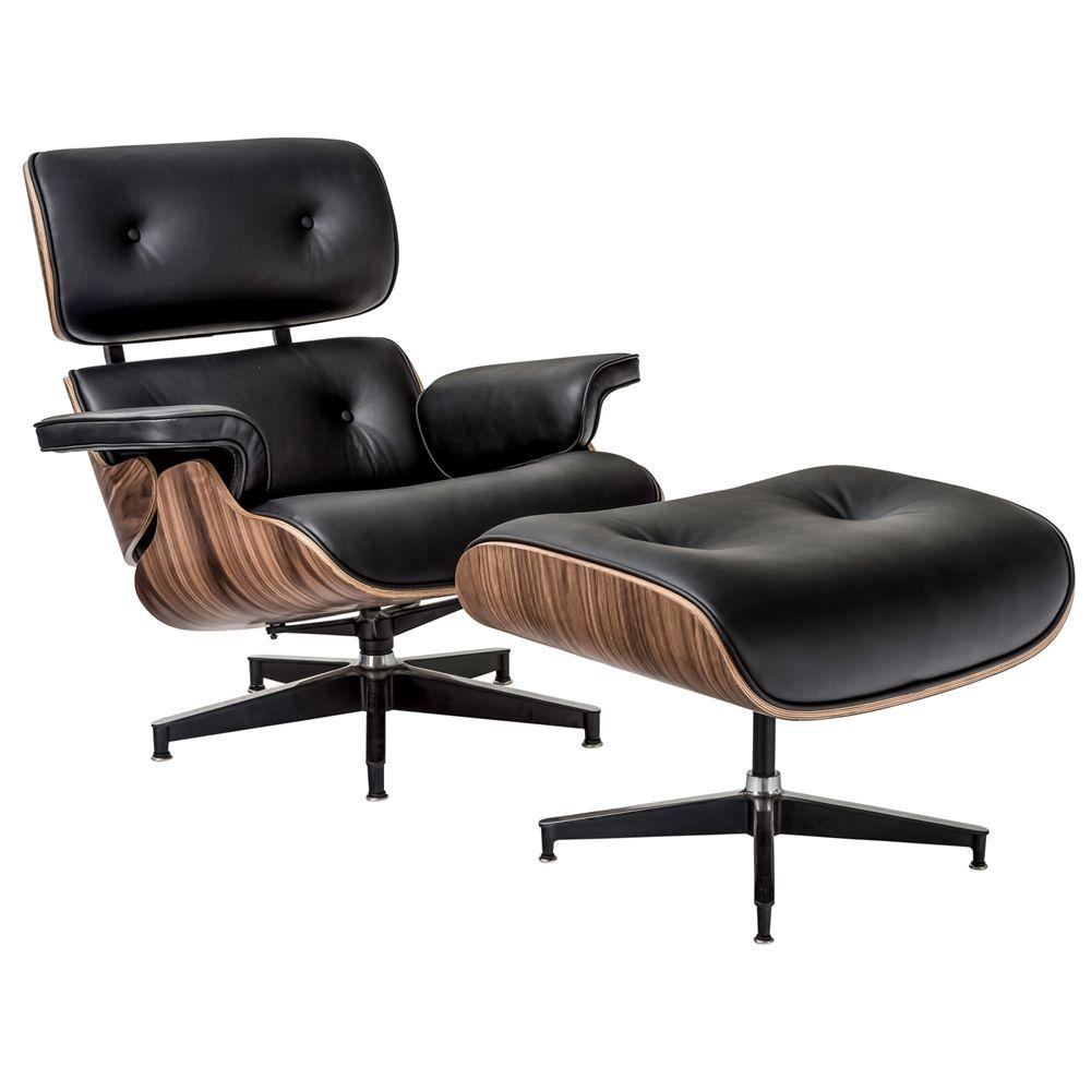 Best Medeski Modern Lounge Chair Ottoman With Black Leather 640 x 480