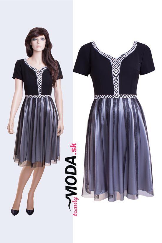 Originálne čierno-biele krátke spoločenské šaty s bohato riasenou tylovou sukňou. -trendymoda.sk