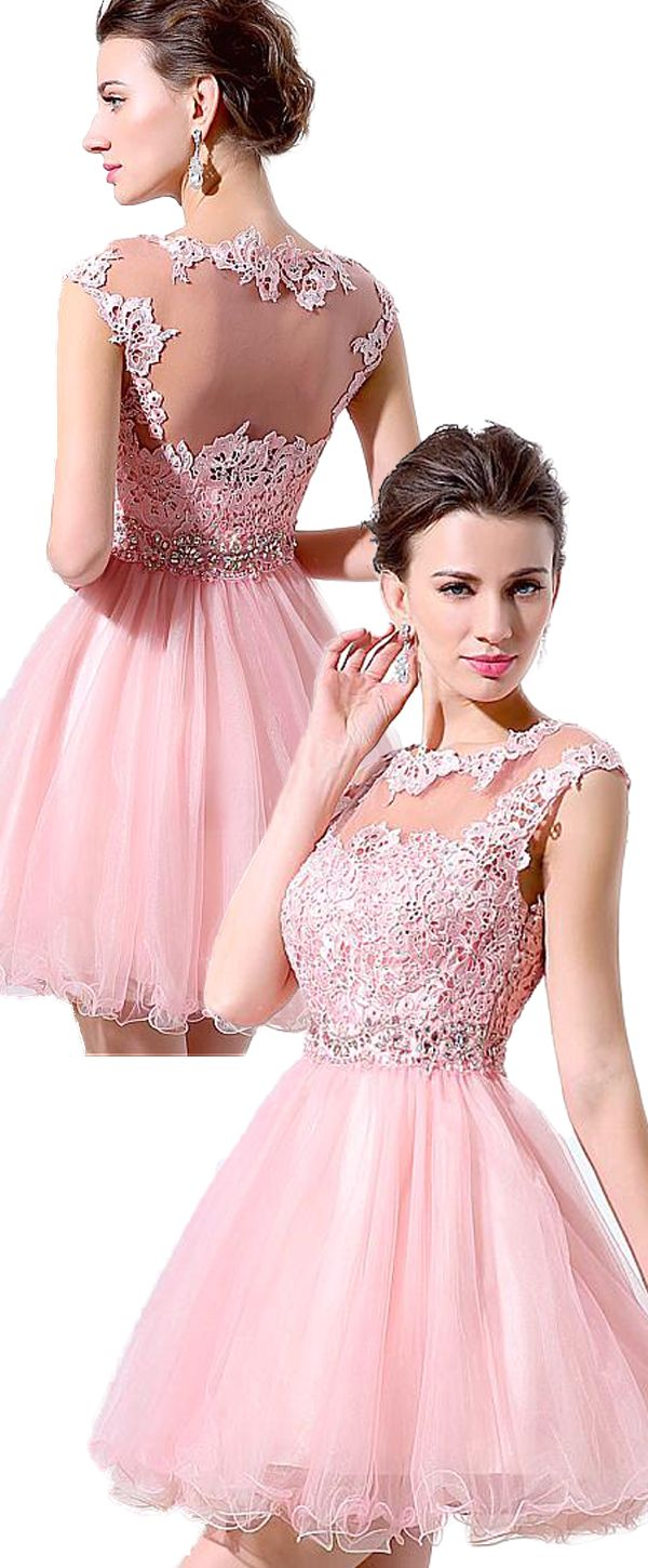 Pretty Tulle Bateau Neckline Short-length A-line Homecoming Dresses ...