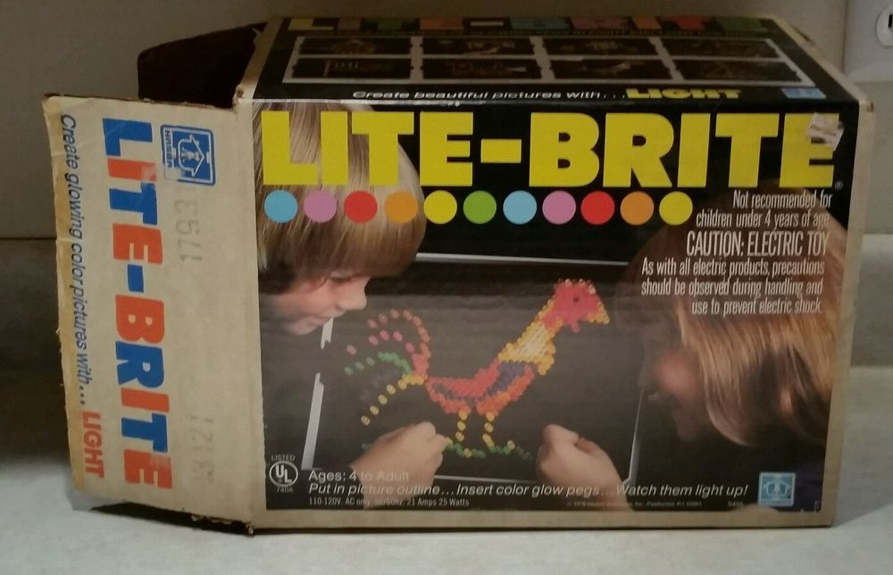 Vintage 1978 Hasbro Lite Light Brite Bright Pegs Light Up Toy Game Box Sheets Hasbro Games Box Toys Lite Brite