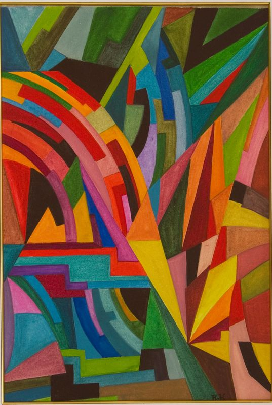 Jeanne KOSNICK KLOSS (1892-1966) Composition Aquarelle gouachée Signée du monogramme en bas à droite 34,5 x 24 cm