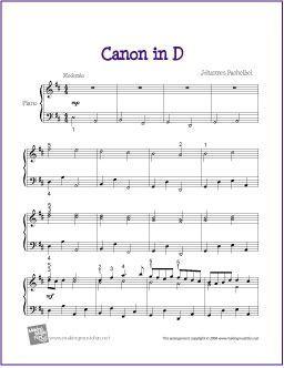 Canon in D (Pachelbel) | Sheet Music for Piano - http://i0.wp.com/makingmusicfun.net/htm/f_printit_free_printable_sh… | Easy piano sheet music, Piano ...