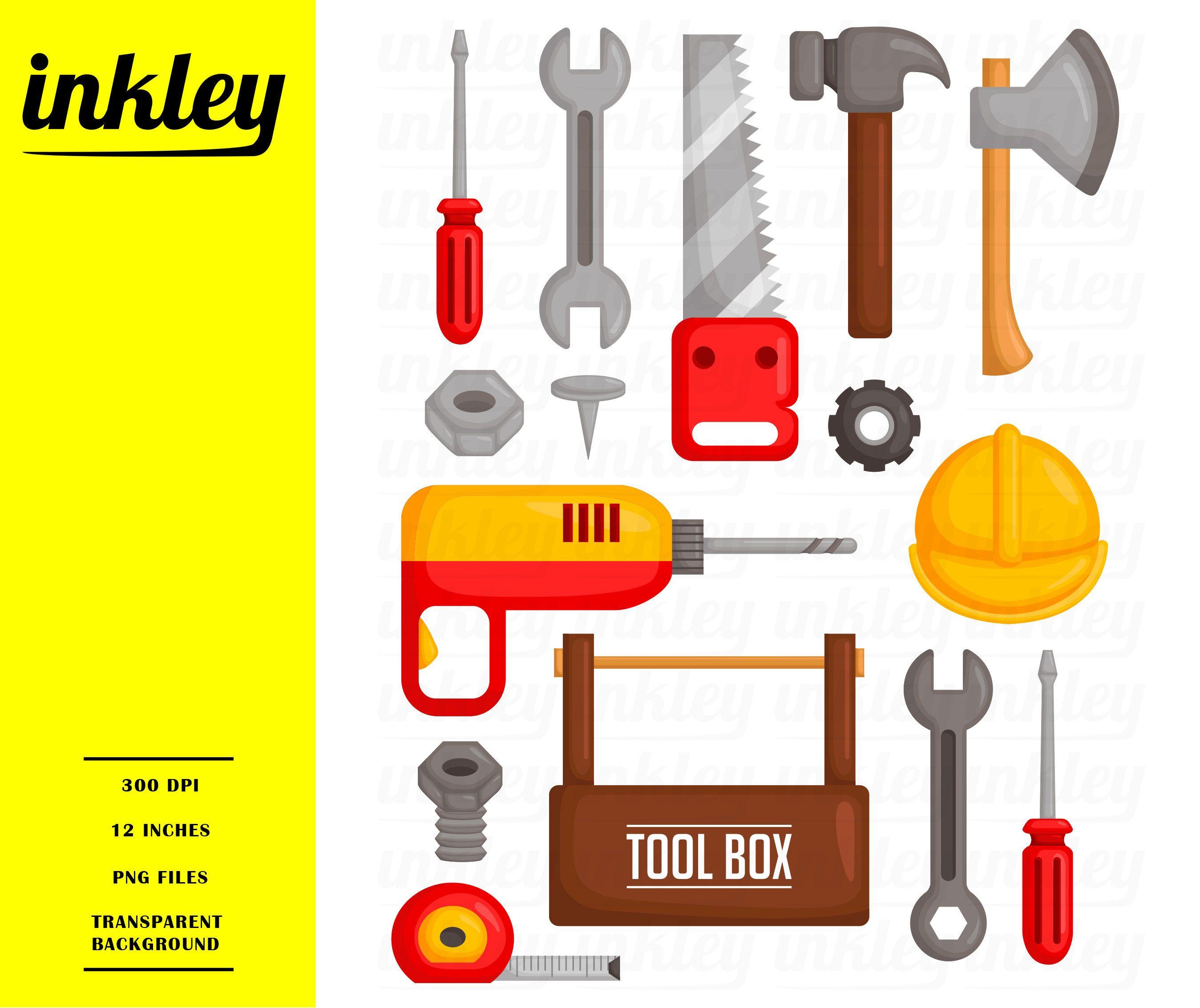 Garage Tools Clipart Toolbox Equipment Clip Art Home Etsy Tool Box Clip Art Home Repair