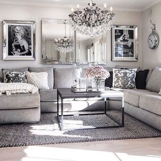 Black And White Home Decor Ideas Part - 50: ... Place Of Marilyn On The Wall Though Living Room Decor Ideas -  Glamorous, Chic In Grey And Pink Color Palette With Sectional Sofa, Graphic  Black U0026 White ...