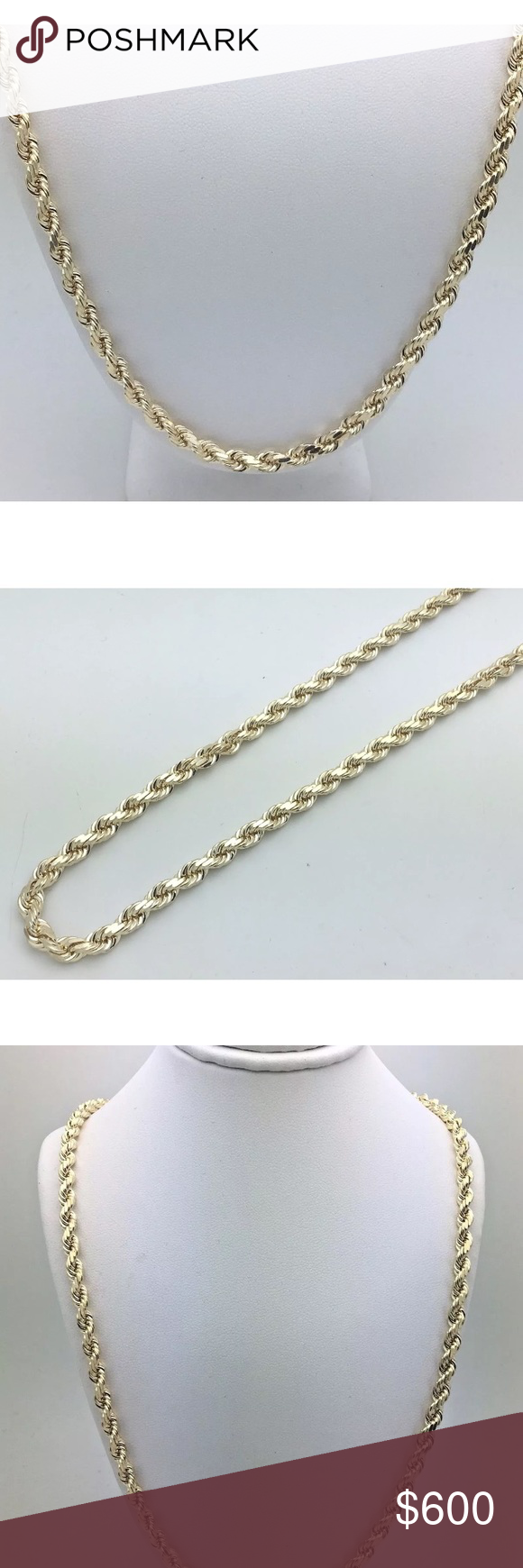 Solid Gold Rope Chain 5mm 24 Nice Mens Necklace Gold Rope Chains Men S Necklace Necklace Brands