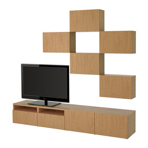 BESTÅ TV storage combination - Lappviken oak effect, drawer runner, soft-closing - IKEA