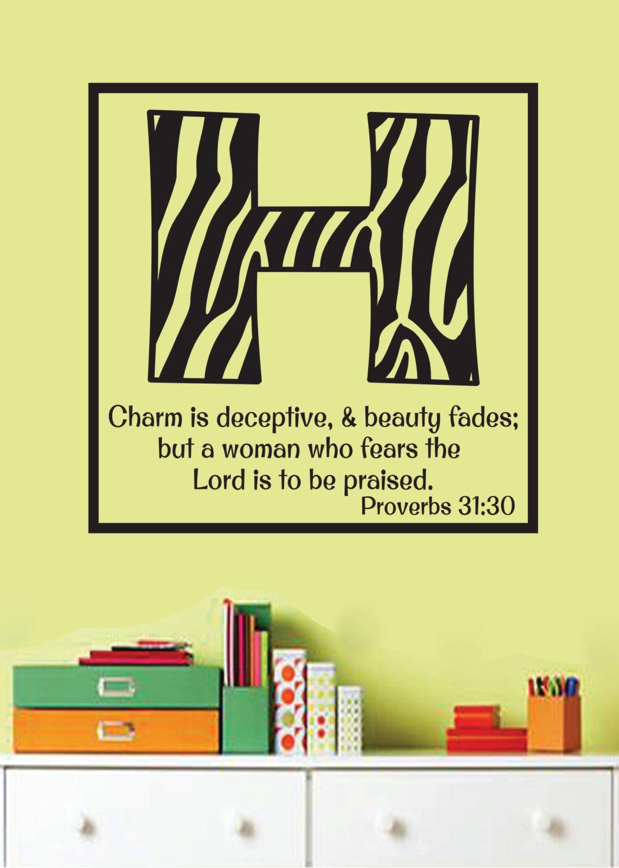 Proverbs 31:30 Teen Girl Zebra Print vinyl words- Scripture Bible ...