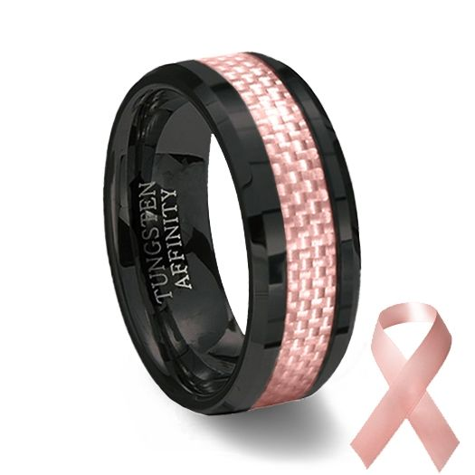 Black Ceramic Pink Carbon Fiber Ring Pink Wedding Band Black Ceramic Ring Pink Ring Mens Wedding Rings Tungsten