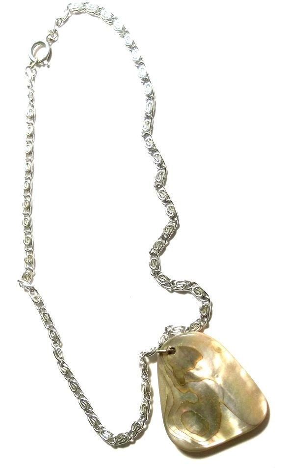 Abalone Pendant (2 sided) Silver Tone Chain Necklace 16 in 2007 #Unbranded #StrandString $18.94