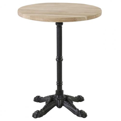 Table Bistrot Plateau Rond Chene 60 X 60 Cm Pietement En Fonte En 2020 Table Bistrot Mobilier De Salon Table Bistrot Ronde