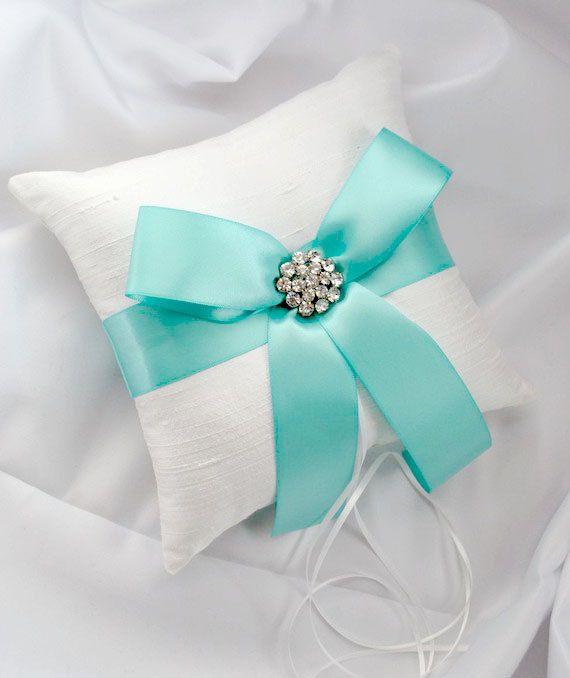 tiffany blue wedding ring bearer pillow white by weddingsandsuch 3900 - Wedding Ring Pillow