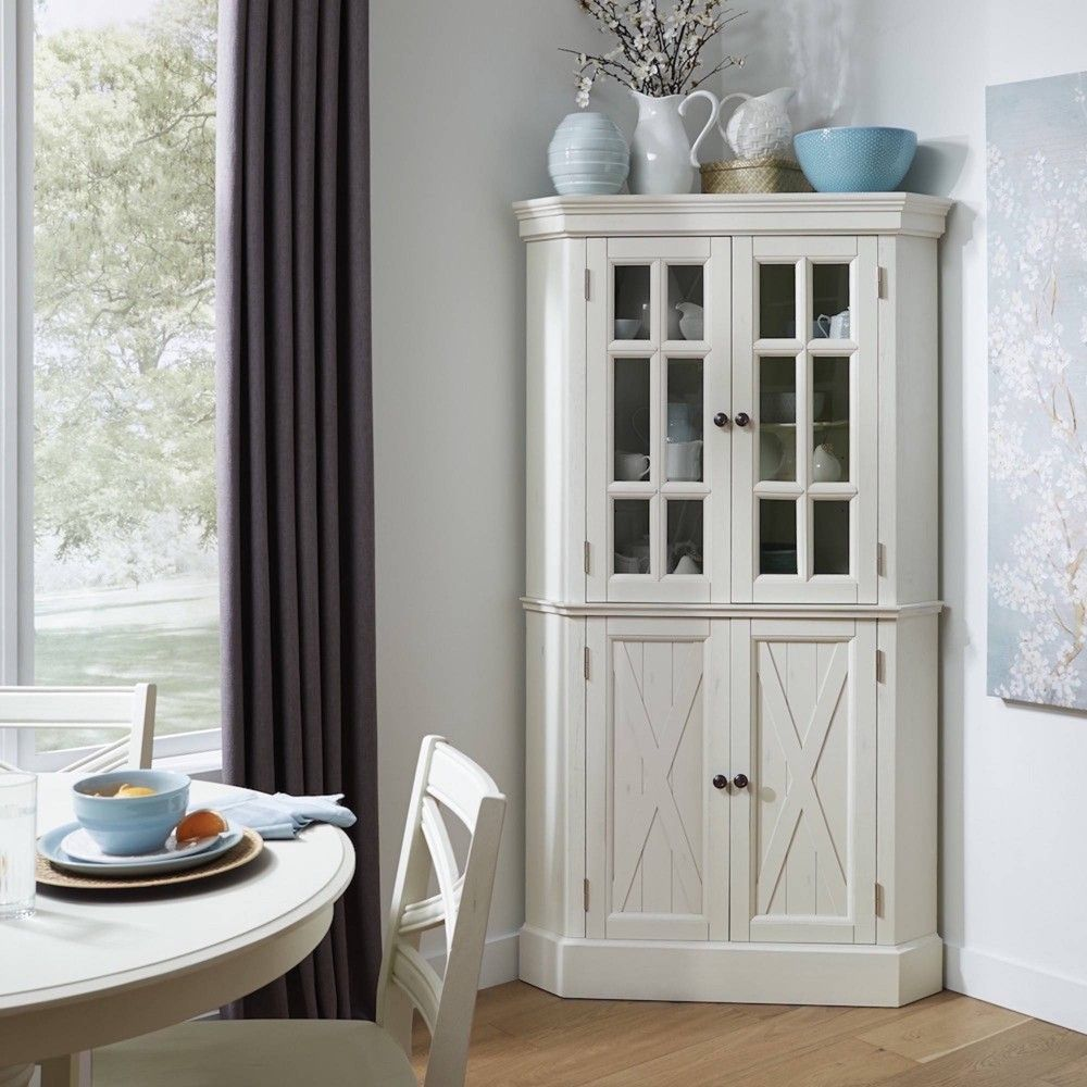 Seaside Lodge Corner Cabinet White Home Styles Corner China Cabinets Corner Pantry Corner Cabinet