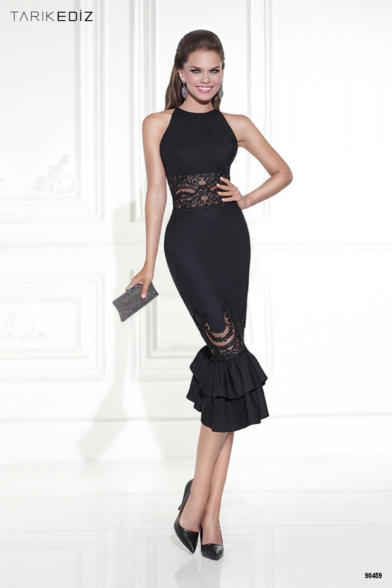 Elegant Tank Style Knee Length Mermaid Cocktail Dresses with Appliques 2016  Robe De Cocktail Black with Lace Women Party Dress 86077a502