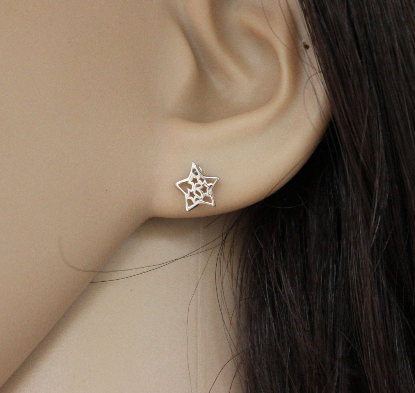 Sterling silver Star Stud Earrings, Star Earrings, Super Star, Tiny Stud Earrings, Dainty Earrings, Children Earrings, Girl Earrings by GreatJewelry4All on Etsy https://www.etsy.com/listing/204179618/sterling-silver-star-stud-earrings-star