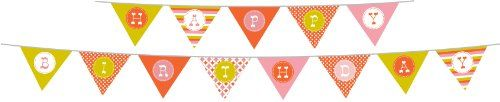 Party Partners Design Retro Sweet Soiree Themed Happy Birthday Banner Set, Pink/Orange for girl party / cumpleaños cumpleanos celebration