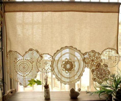 BOHO Vintage häkeln Deckchen Shabby Chic Französisch Land Fenstervorhang Cafe Vintage Spitze Creme #crochetformoney