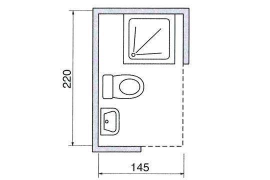 Le plan d 39 une salle de douche avec wc dimensions guide mesures r - Plan salle de bain avec wc ...