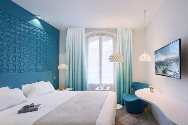 schlafzimmer weiss trkis wandpaneele 3d klein ombre gardinen - Schlafzimmer Weis Turkis