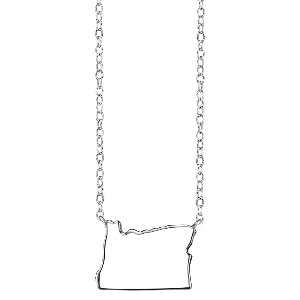 Footnotes Sterling Silver Oregon Station Necklace - Silver (18.5), Women's