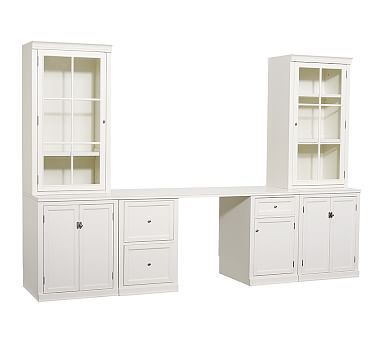 Logan Small Office Suite With Doors And Glass Towers Antique White