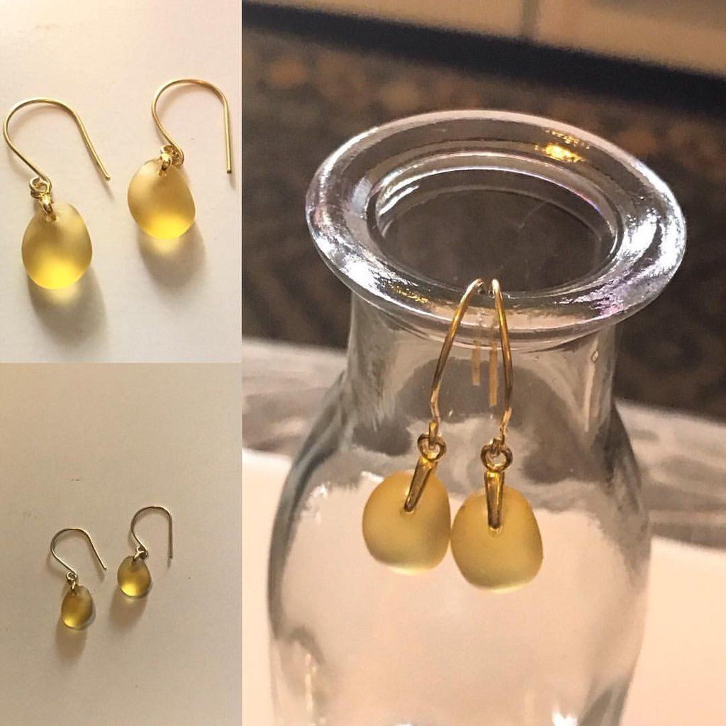 Cultured Seaglass Gold Earrings – Boho and Beads