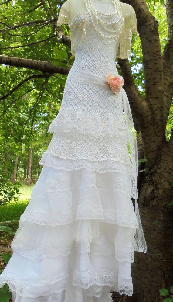 Gehäkelte Spitzenkleid wedding weißer Elfenbein von vintageopulence ...