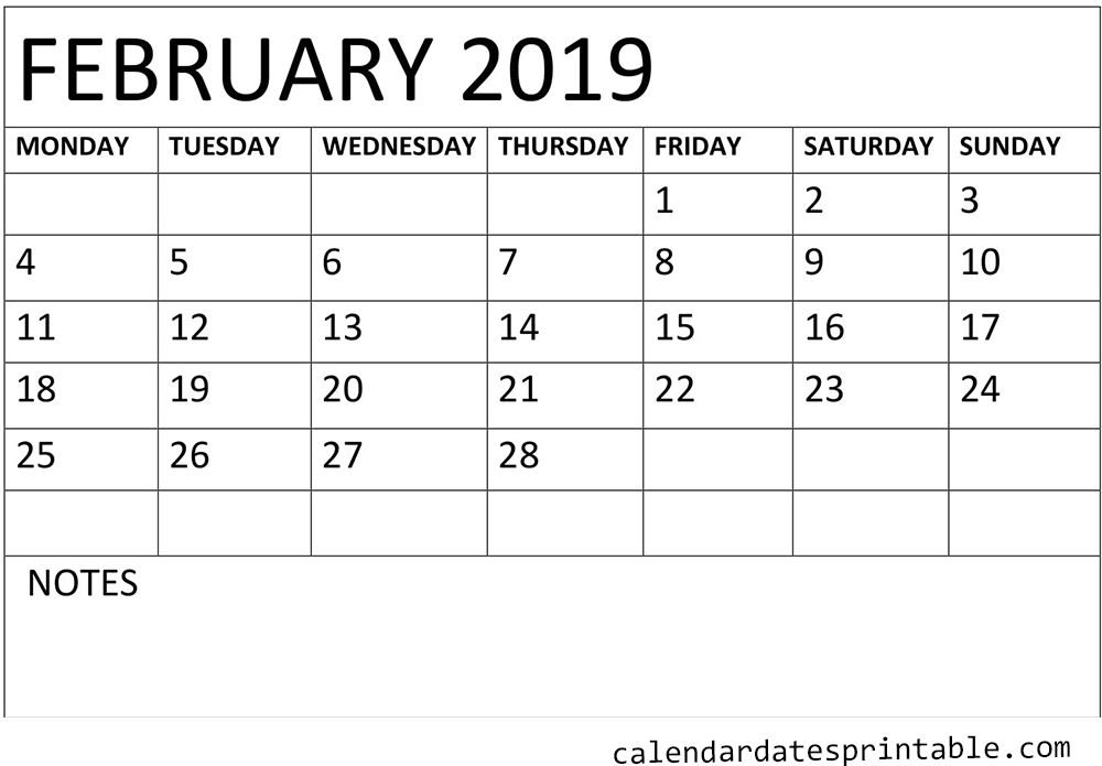 Waterproof February 2019 Calendar Printable Calendar February 2019 waterproof Paper | February 2019