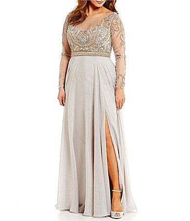 4867c6f8f64 Terani Couture Plus Boat Neck Long Sleeve Illusion Beaded Bodice Gown   Dillards