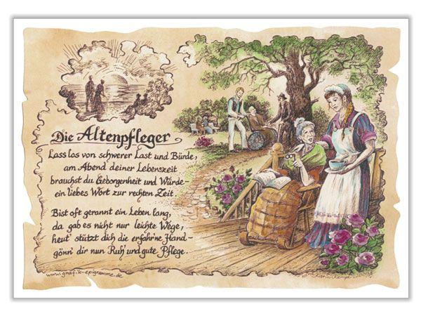Zunftbild Altenpfleger Auf Antikpapier Im A4 Format
