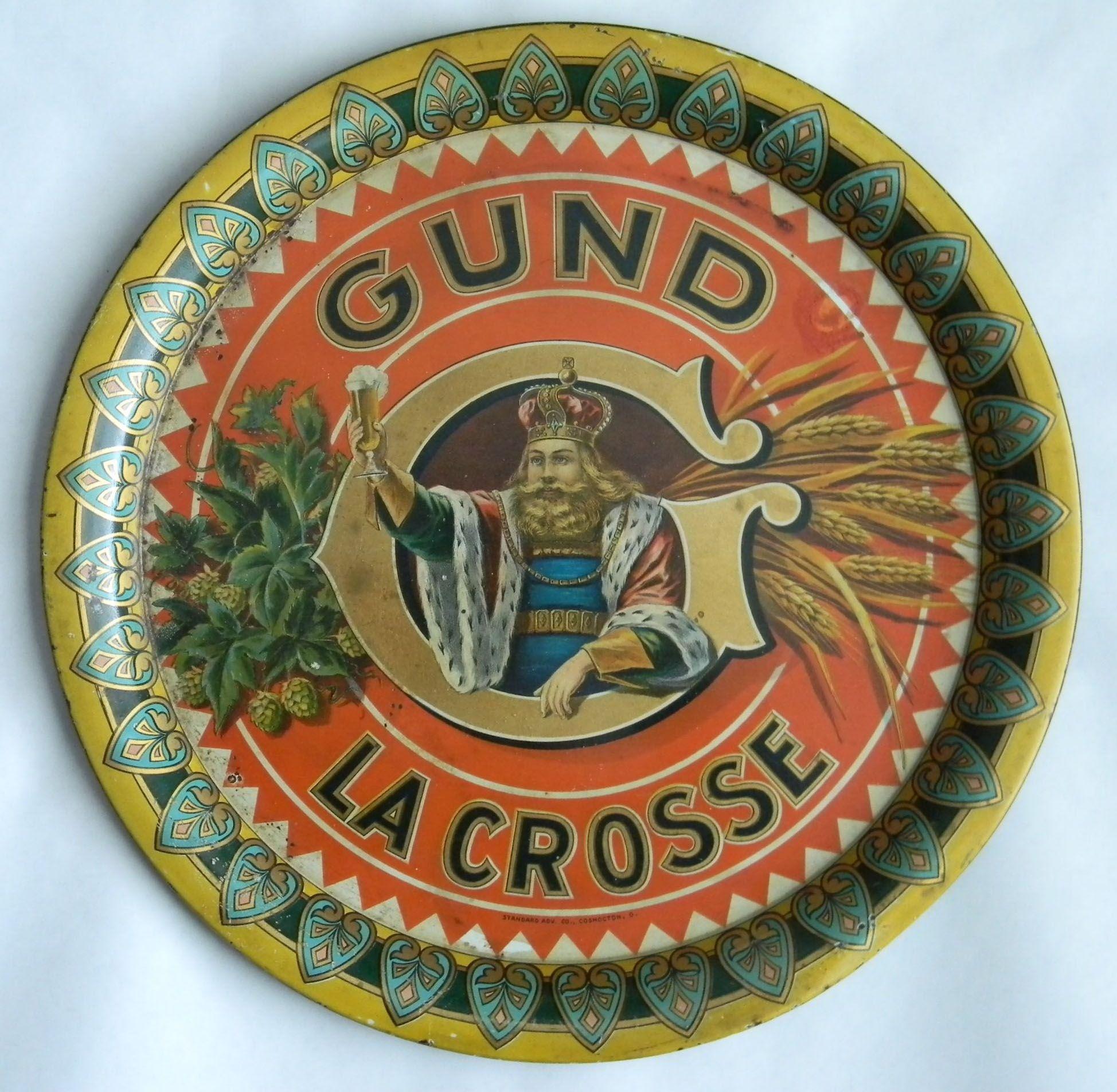 Gund king gambrinus beer tray gund brewing co la crosse