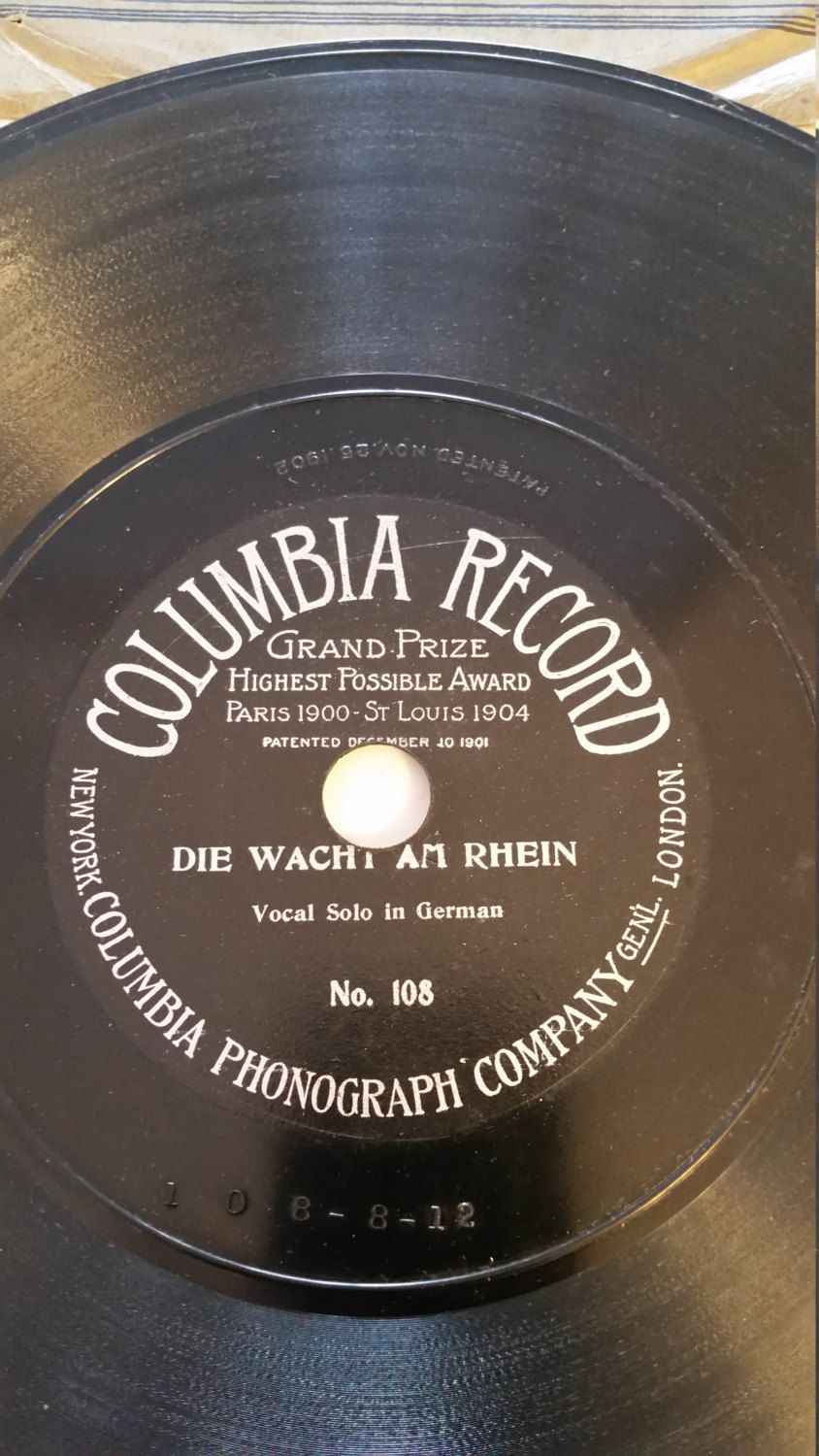 Vintage 1904 Columbia Disc Record 10 Inch One Sided 78 Rpm 108 Die Wacht Am Rhein Solo In German Classic Music Disc Records Phonograph Vintage Antiques