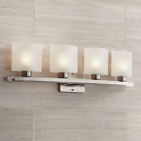 Possini Euro White Linen Gl 32 W Bathroom Light Fixture