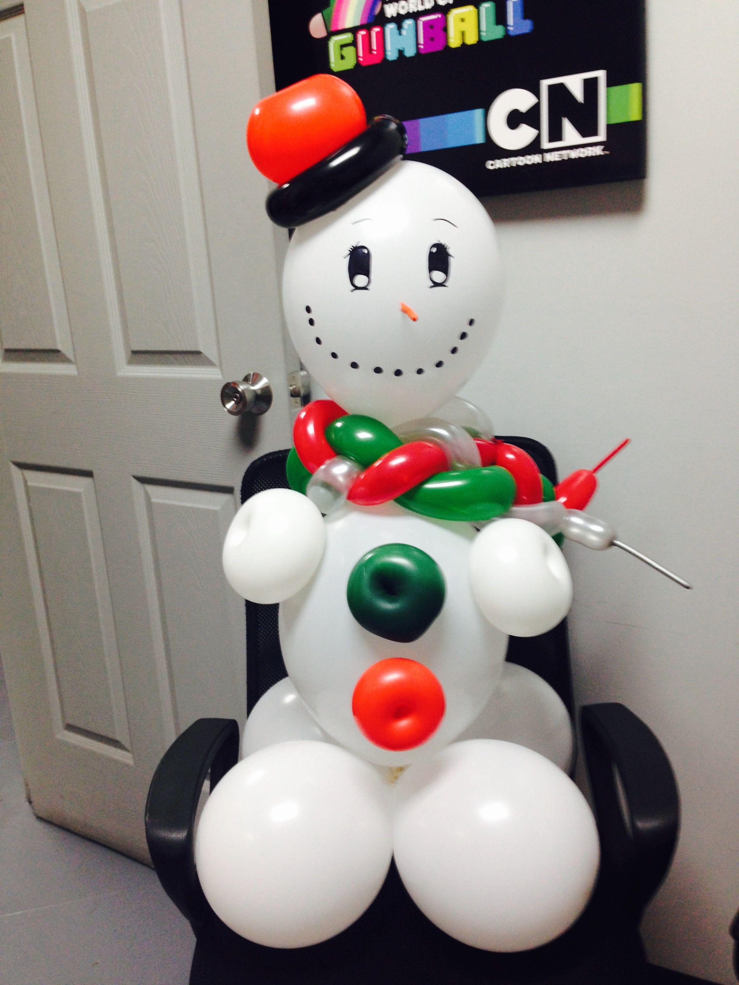 Mu eco de nieve con globos navidad pinterest nieve - Decoracion de navidad con globos ...