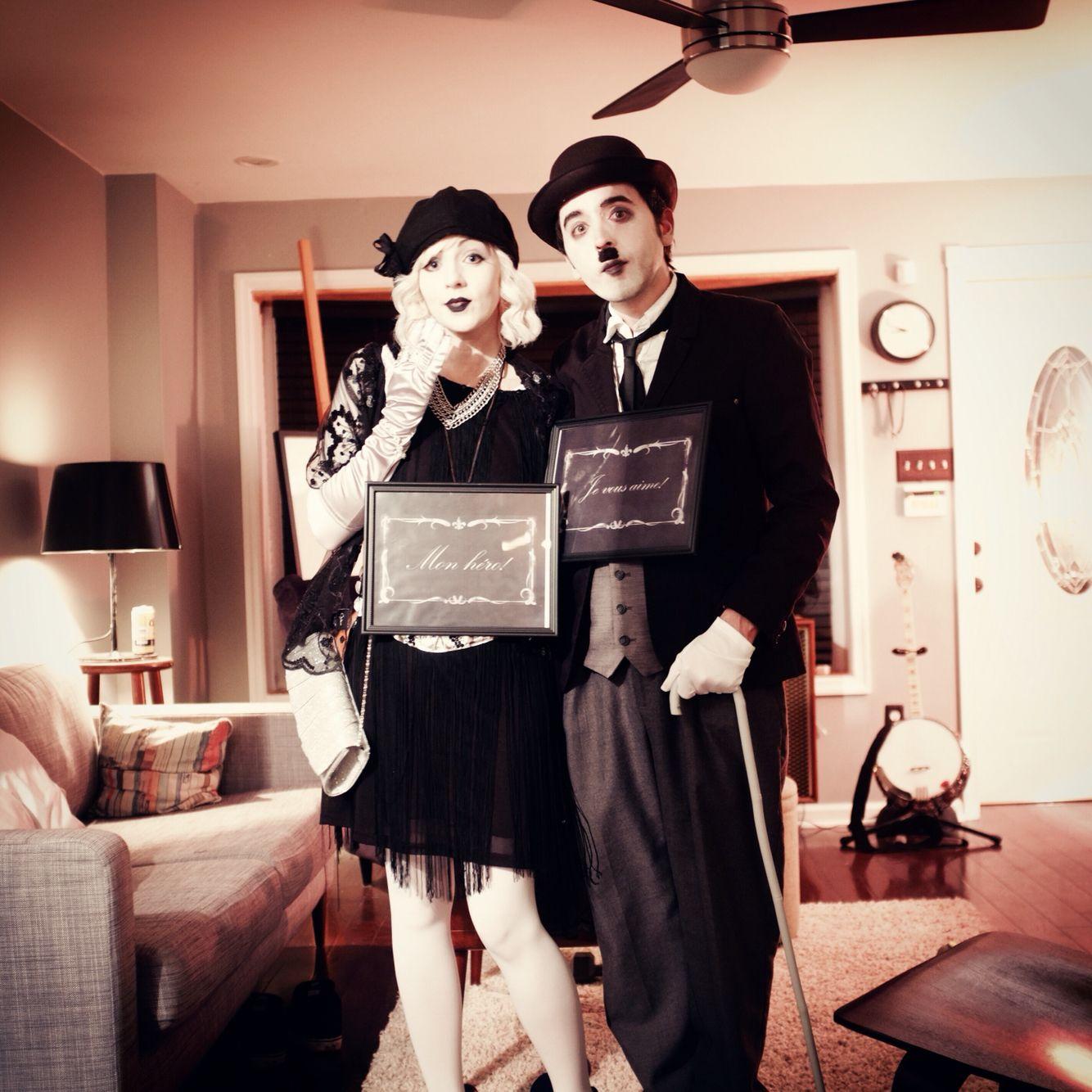 silent film star Halloween costume idea, black and white