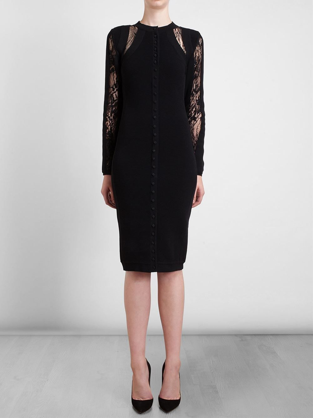 ANTONIO BERARDI Buttoned Lace Inset Dress $2,103.08