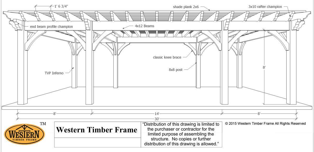 Plan for a 16\' x 32\' Over Size Timber Frame DIY Pergola | Pinterest