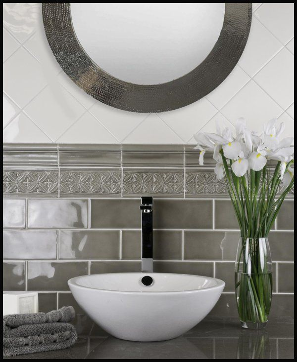 subway tile with decorative borders