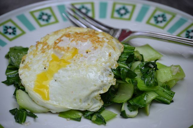 Bok choy and fried egg. Hello tonights dinner. I found you.