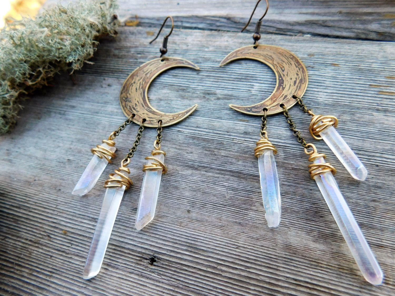 Etched Brass Crescent Moon Earrings Boho Chandelier Earrings Hippie ...