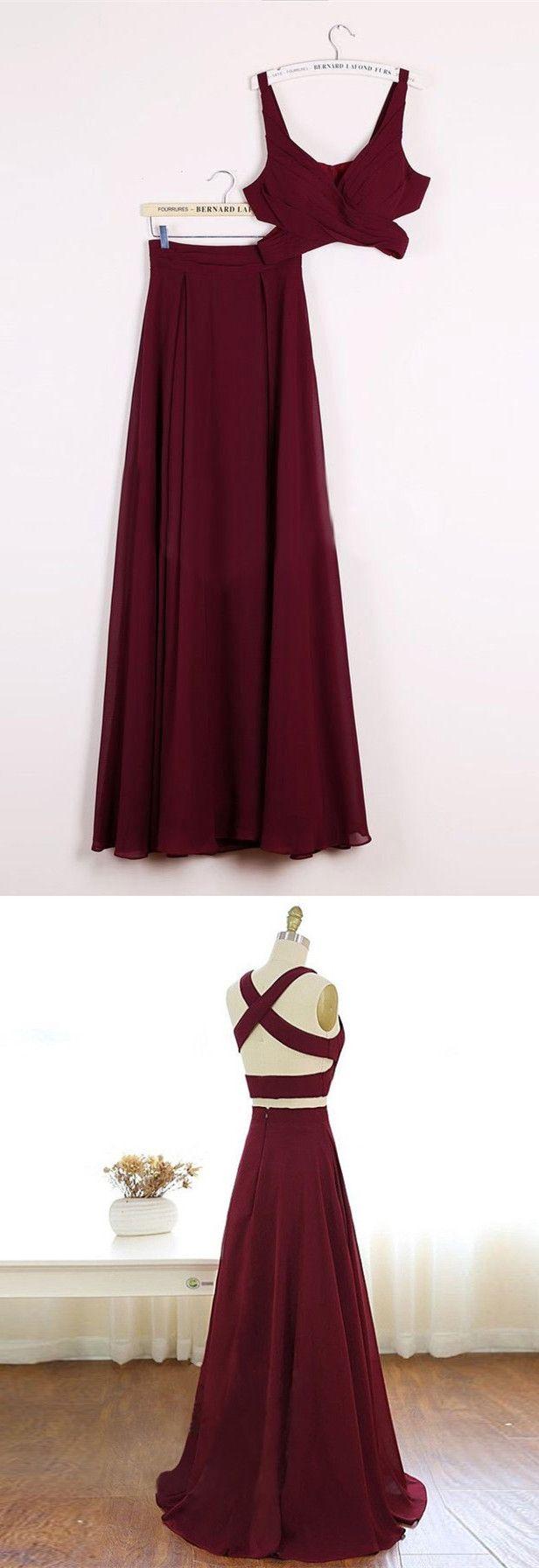 Two piece v neck long burgundy chiffon prom dress evening dress